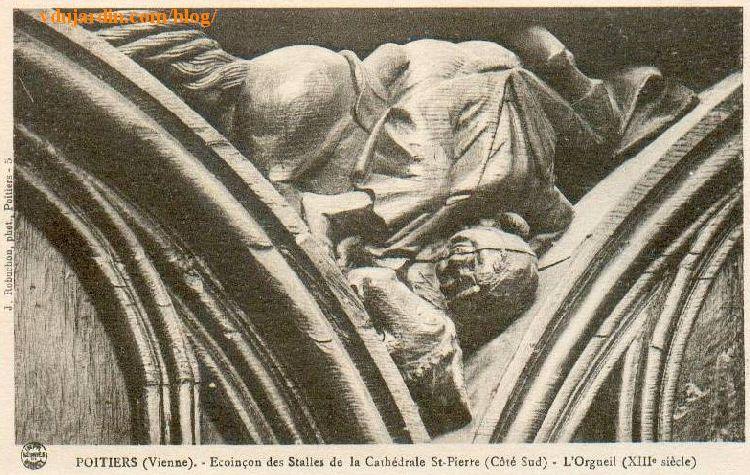 Stalles de la cathédrale de Poitiers, l'orgueil, carte postale ancienne Jules Robuchon