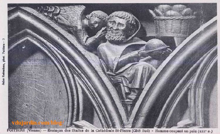 Stalles de la cathédrale de Poitiers, la gourmandise, carte postale ancienne de Jules Robuchon