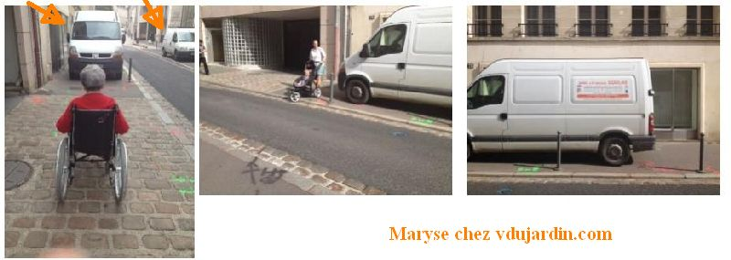 Poitiers, rue Carnot, camionnette d'artisan empêchant le passage des personnes à mobilité réduite et des poussettes