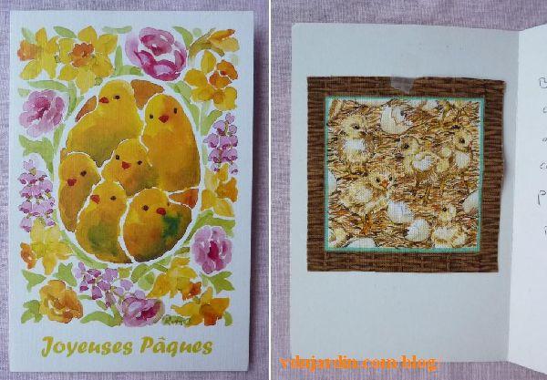 Carte et tissu avec des poussins