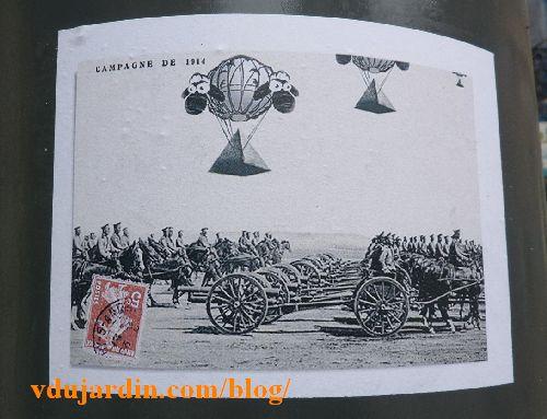 Mouton survolant un bataillon d'artillerie en 1914