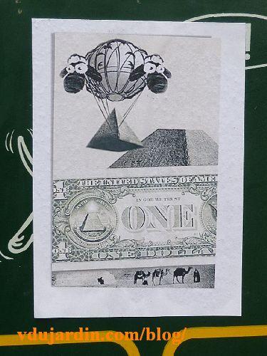 Moutons en ballon au-dessus d'un dollar en Afrique