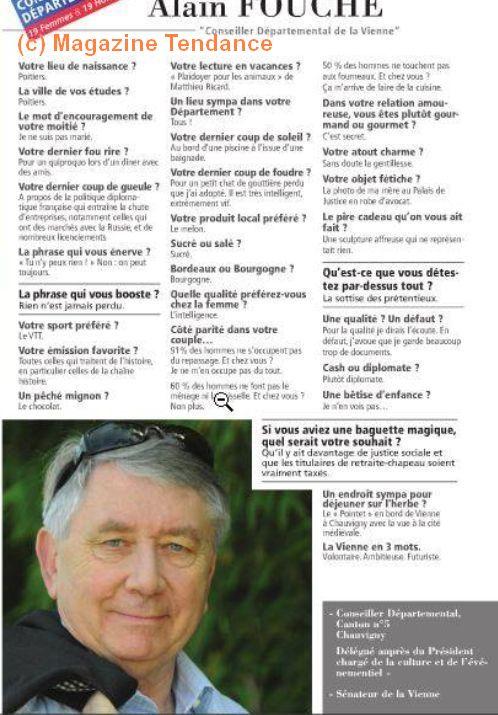 Alain Fouché dans le magazine Tendance