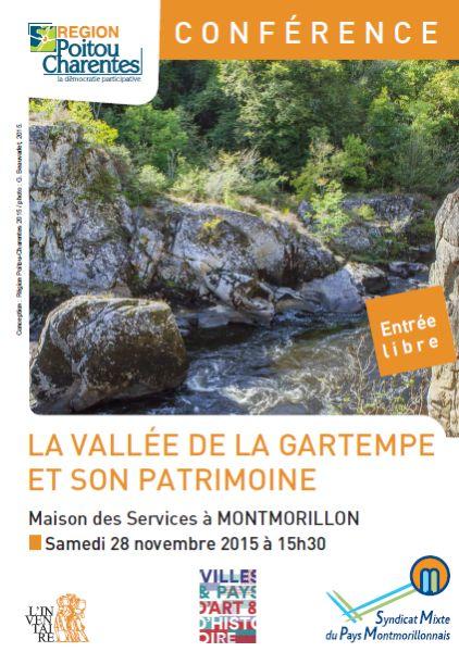Affiche de la conférence sur la vallée de la Gartempe et son patrimoine à Montmorillon