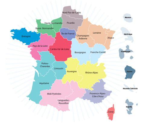 Carte des nouvelles régions proposée par l'Etat