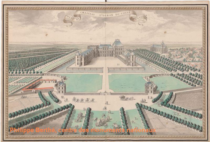 Plan du château d'oiron, façades sur cour, 1713