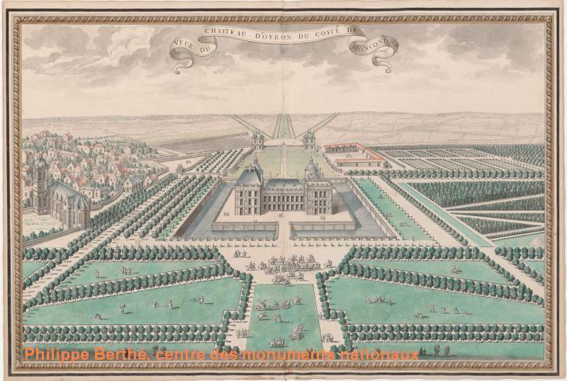 Plan du château d'oiron, façades vers la commune, 1713