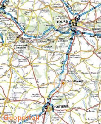 Carte avec Poitiers, Tours et Châtellerault