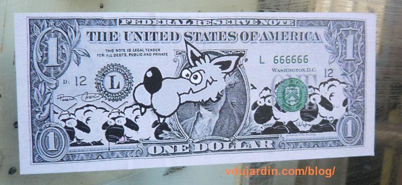 Mouton poitevin, dollar avec un loup