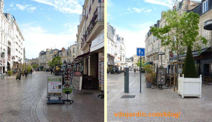 Terrasses encombrant les trottoirs de la rue Carnot à Poitiers, 7 mai 2016