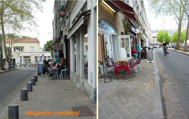 Terrasses encombrant les trottoirs de la place Charles-de-Gaulle à Poitiers, 7 mai 2016