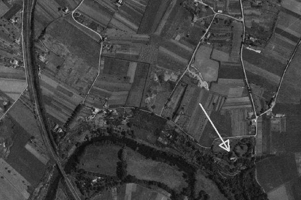 Poitiers, emplacement de la Mérigote sur une vue de Poitiers en 1950, extrait d'une photographie de l'IGN