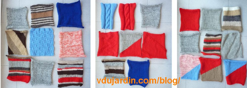 Les 26 carrés tricotés pour le bombardement de fils à Poitiers le 27 juin 2021