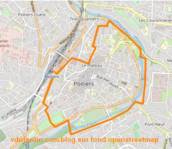 Le trajet de l'après-midi pour la course des héros 2021 de V. Dujardin, sur fond OpenStreetMap